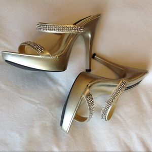 Super sexy playboy gold heels with diamond detail
